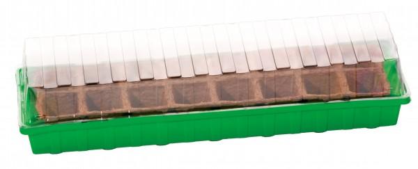 Mini-serre L Plus-Strip + 16 Pots biodégradables 6 cm carré
